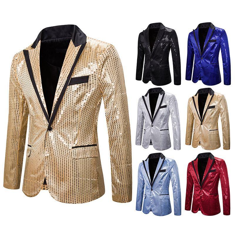 da única forma masculino Lantejoula Suit Casacos Men Banquetes Blazer Casacos Nightclub Masculino Tamanho Grande Costumes Cantor performance de palco