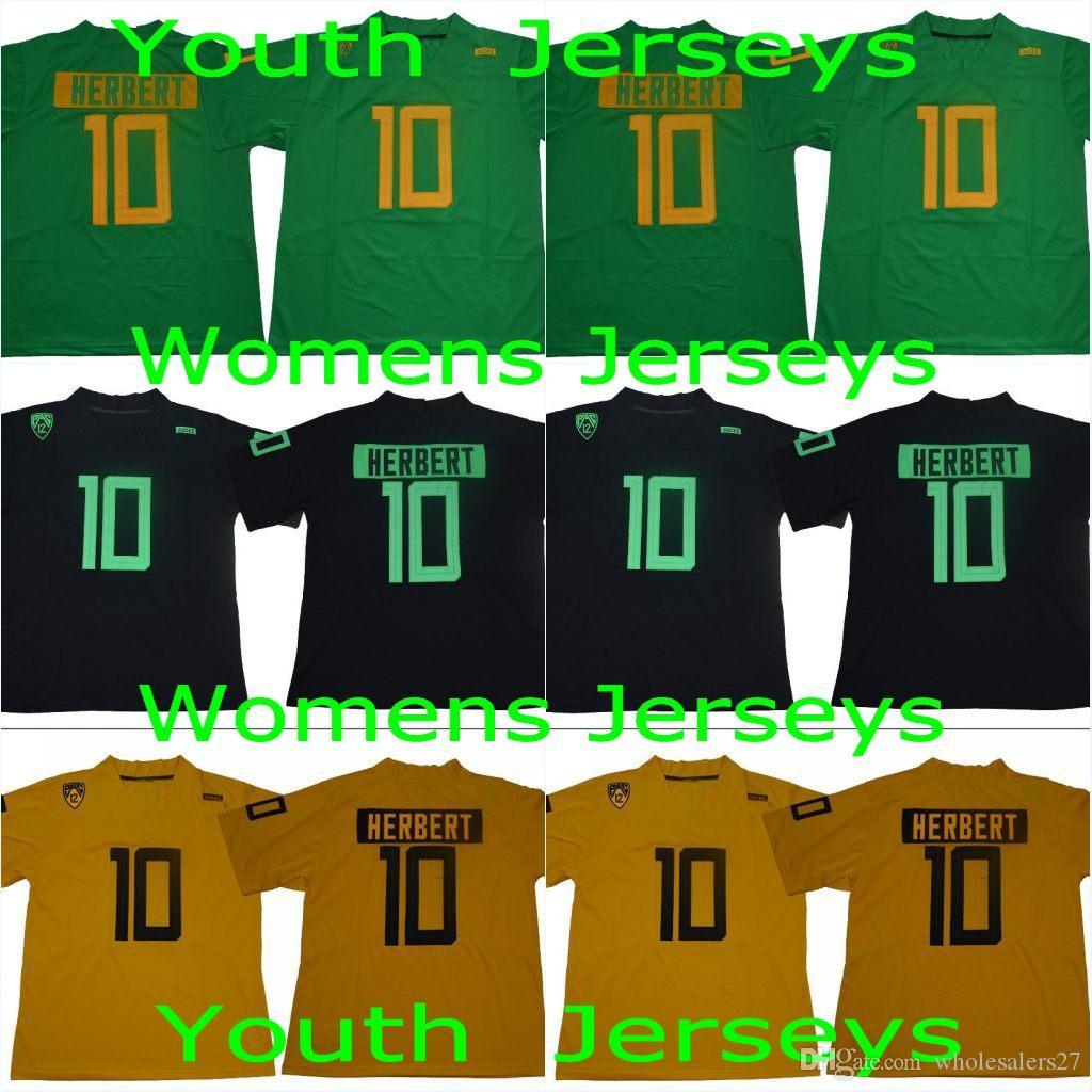 Gençlik Oregon Ördekler 10. Justin Herbert Çocuk Sarı Yeşil Siyah Renk 2019 Yeni Stil Jersey Erkek Koleji Dikişli Formalar Ücretsiz Kargo Womens
