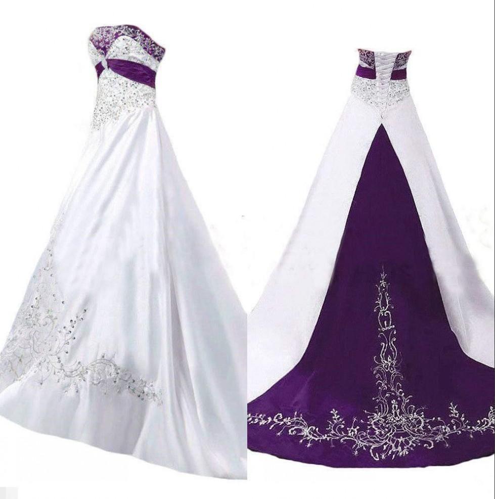 Vintage Blanco y Púrpura Una línea Vestidos de novia 2020 Trans Bordados de cordones de cordones con cordones de cordones con cordones con cordones grandes. Vestidos de novia con corsé