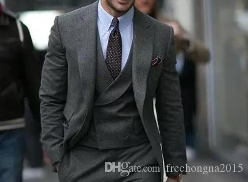 Custom Made Grey Homens ternos para casamento 2019 Best Men Blazer Groomsmen Slim Fit noivo smoking ternos formais Partido 3 peça (jaqueta + calça + Vest)