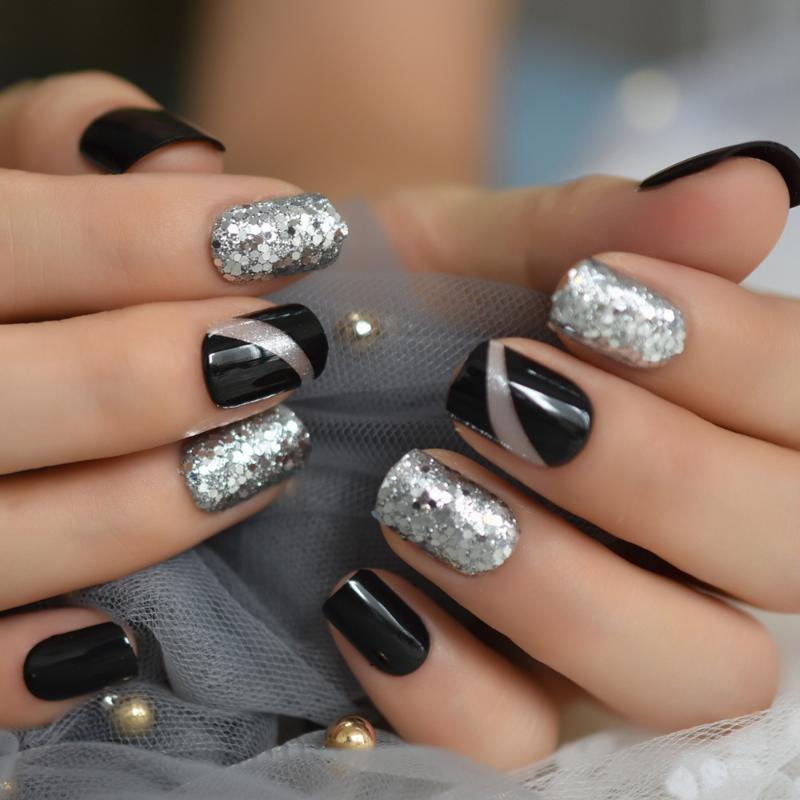 Nouvelle arrivée Fashion Glitter Faux ongles Noir mousseux ongles courts décoration Place lisse gris Faux Ongles