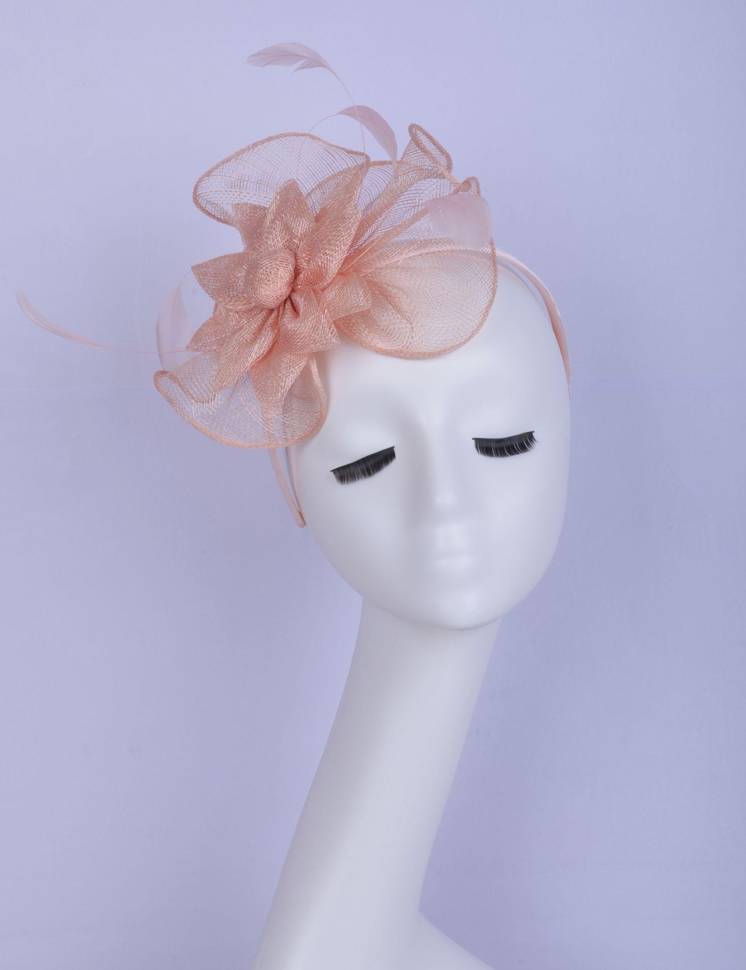 2019 Pequeno bebê rosa sinamay fascinator pena Headpiece Kentucky Derby casamento raças chuveiro nupcial mãe da noiva.