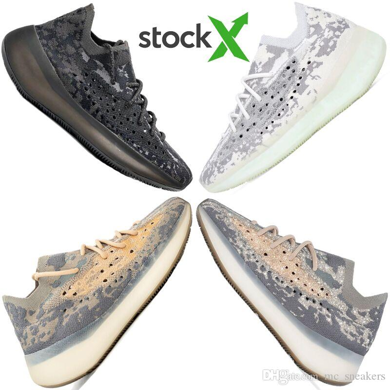 2020 de calidad superior Kanye West 380 Extranjero niebla 3M reflectante Zapatos corrientes Zapatos para hombre de arcilla blanca Beluga Triple Negro para mujer con la caja