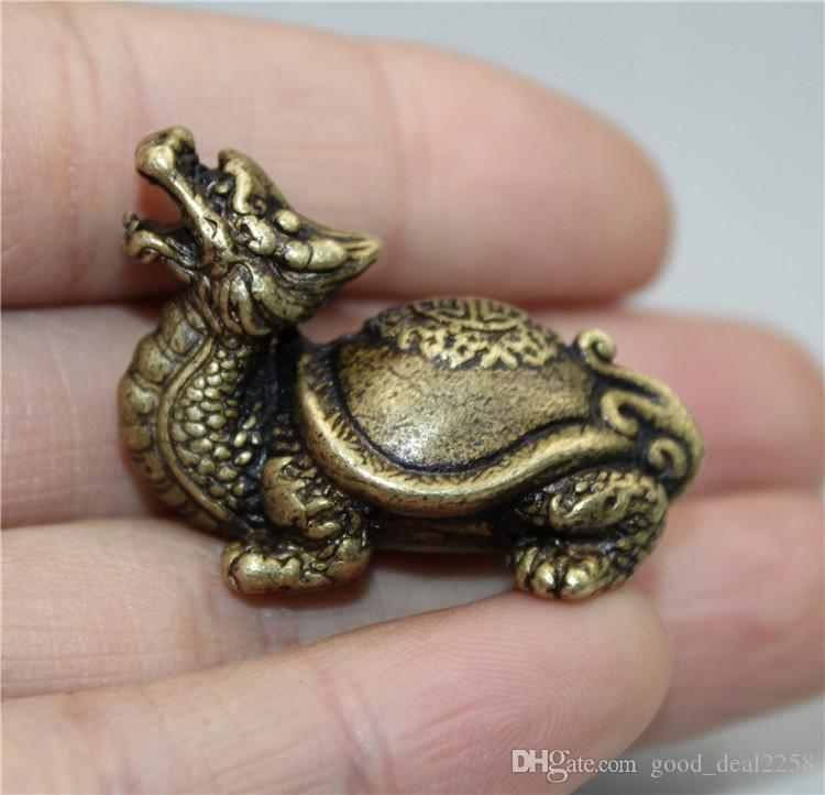 Collection arts vintage oriental rare vieux laiton chinois charmant petite tatillade de tortue dragon