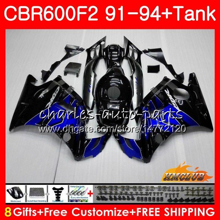 Body + réservoir pour HONDA CBR 600F2 CBR600FS chaud bleu noir CBR 600 FS F2 91 92 93 94 40HC.4 600CC CBR600 F2 CBR600F2 1991 1992 1993 1994 Carénage
