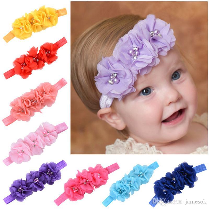 15 colores gril del bebé 3 flor combinación de gasa de flores de cristal banda de pelo de la perla fijados banda elástica del cabello accesorios para el cabello diadema tocado BD001