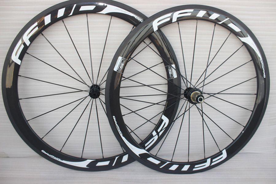 700C Yarışı Bisiklet karbon jantlar 50mm FFWD Karbon Yol Bisikleti Tekerlekli çiftler düğüm noktası 23mm veya 25mm genişlik kadro carbone