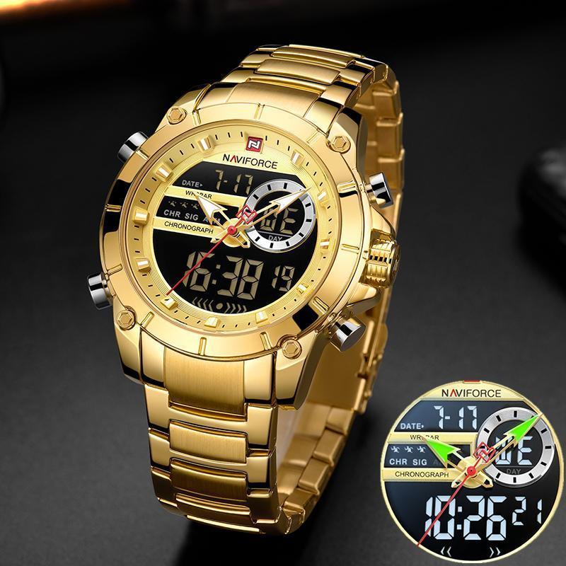 Men Military Sport Wrist Watch Gold Quartz Steel Waterproof Dual Display Male Clock Watches Relogio Masculino