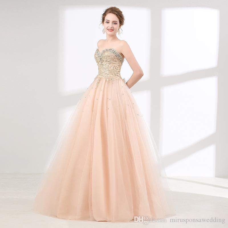 M6611 Hot Sale Rosa Claro Prom Dresses Querida Tulle bola vestido de baile vestidos de renda apliques Cristais Beading Designer Vestidos de noite