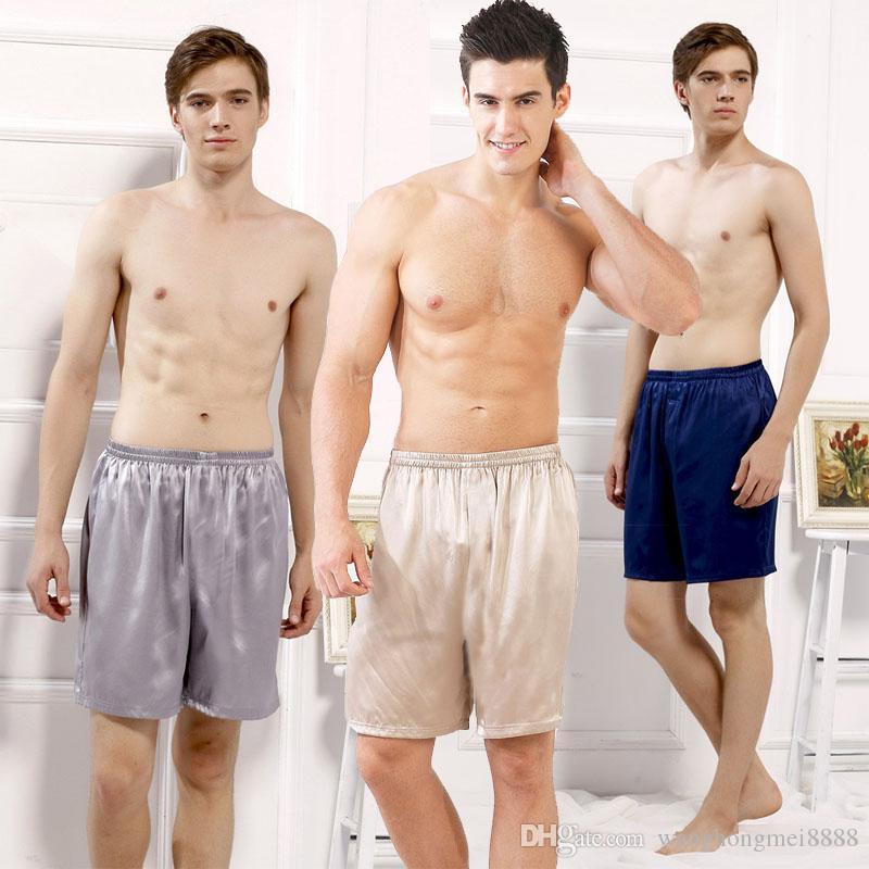 Pantaloncini pijama di seta da uomo casual allentati in pigiama estivo intimo morbido pigiama pigiami da notte sexy mutande pigiama homme