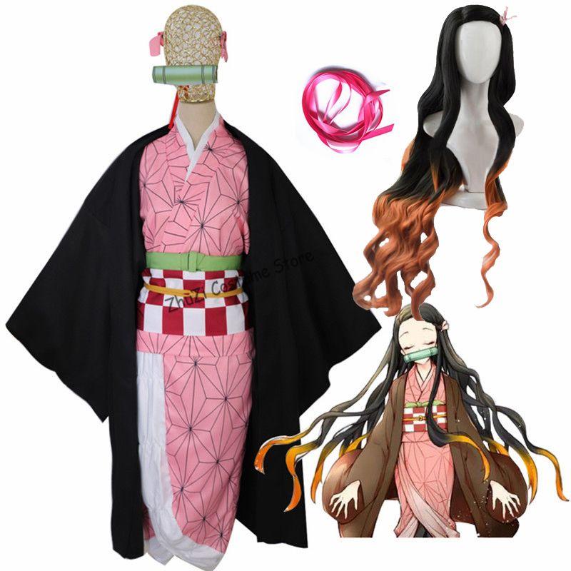 Costume di Cosplay nuovo Kamado Nezuko parrucca Anime Demon Slayer Kimetsu senza Yaiba kimono uniforme Mantello Full Set Halloween Gradient Capelli