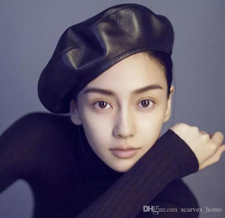 New Winter Beret Cap Fashion Women Casual PU Leather Beret Hat For Women Autumn Retro Beanie Caps 5Colors