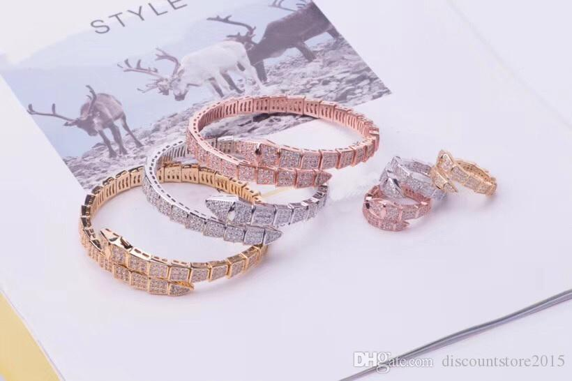 الأزياء الفاخرة مجموعات المجوهرات سيدة النحاس الكامل الماس واحدة التفاف الأفعى الثعبان 18 كيلو الذهب مفتوحة واسعة أساور خواتم مجموعات (1 مجموعات) 3 اللون