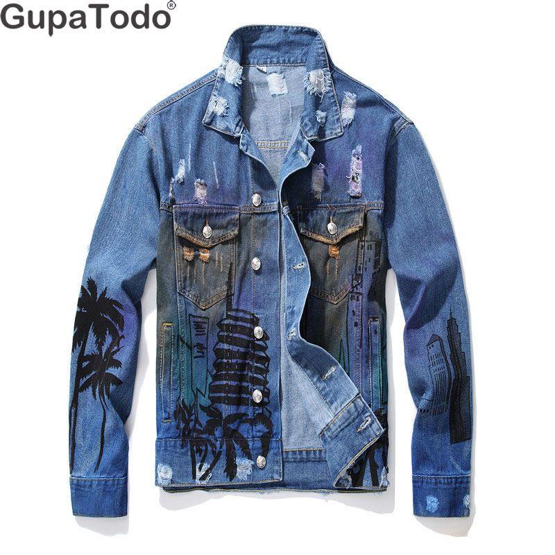 GupaTodo 2019 Spring Autumn New Fashion Mens Loose denim jacket Men hole denim jacket European and American Style