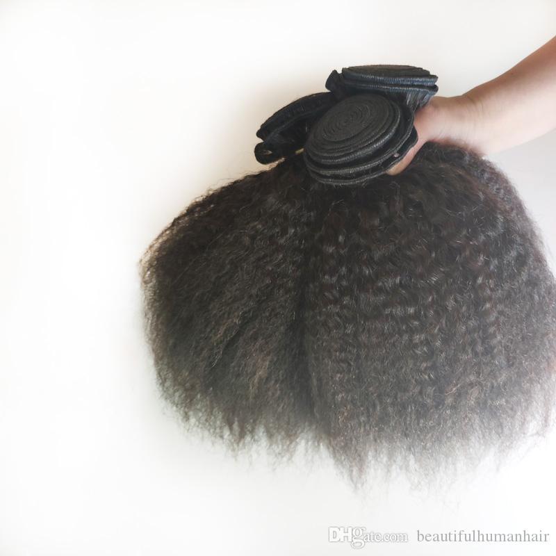 brasiliana vergine di estensione dei capelli 8-18inch Kinky capelli lisci doppia trama dei capelli non trattati di Remy dell'indiano tesse economico fabbrica il prezzo all'ingrosso