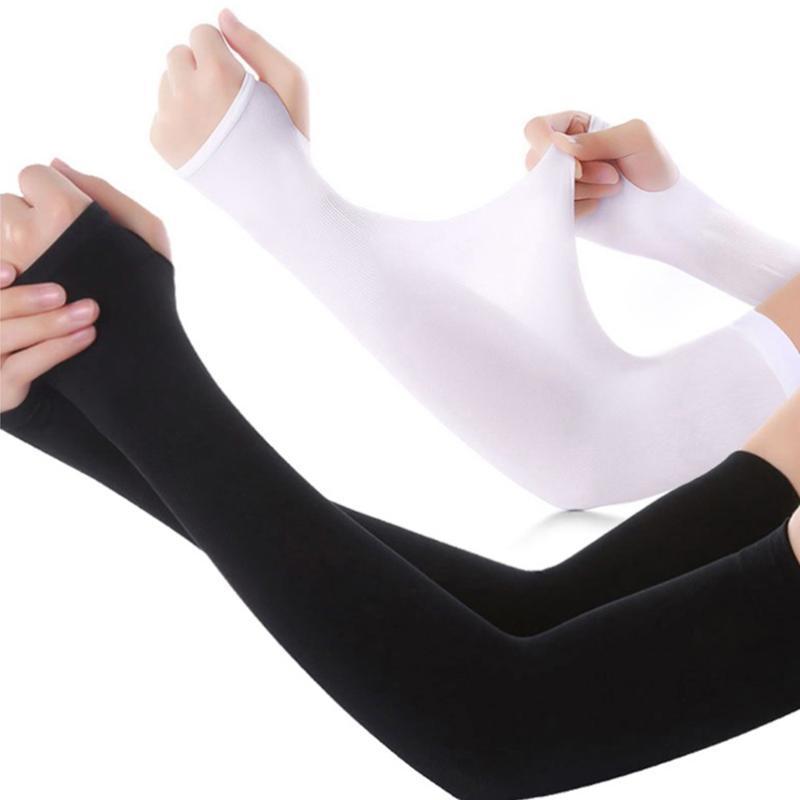 Protector solar de seda del hielo de manga larga mano del guante protector mangas del brazo al aire libre para funcionar con Sun calentador del brazo de medio dedo