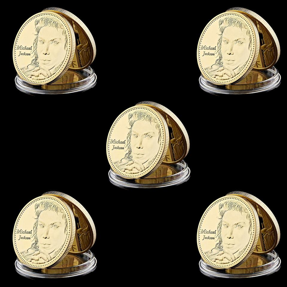 5pcs Souvenir Coin USA Super Star Michael Jackson King Of Music 1oz Gold Plated Collection Lot Coin