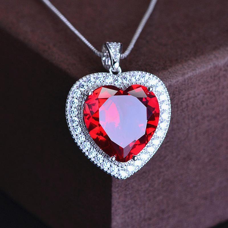 Klassische Liebe Herz rot Kristall Rubin Edelsteine Diamanten Anhänger Halskette für Frauen Weißgold Farbe Silber Schmuck bijoux Geschenk