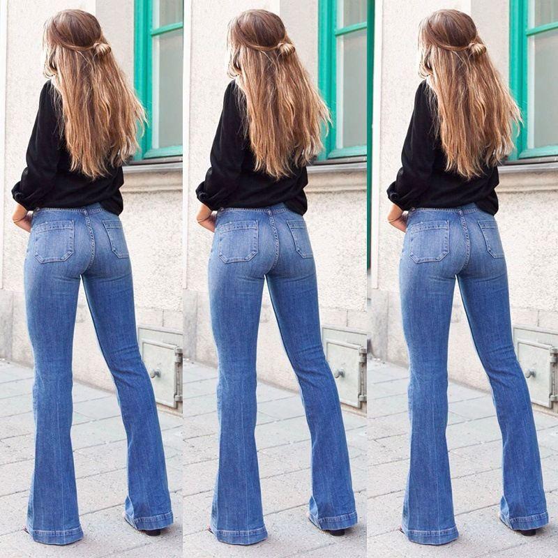 Compre Pantalones Vendedores Calientes De Los Pantalones Vaqueros De Las Mujeres Slim Fit Patch Bolsillo Adelgaza Talle Alto Pata De Elefante A 23 36 Del Xiatian6 Dhgate Com
