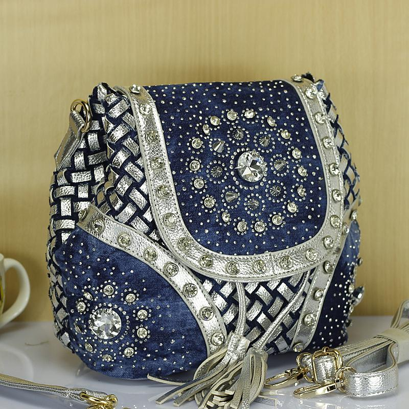 Yeni Tasarım Markası Zarif Yapay elmas Moda Kadınlar Omuz Çantası Jeans Casual Bayanlar Denim kadın kadın çantaları mochila handbags