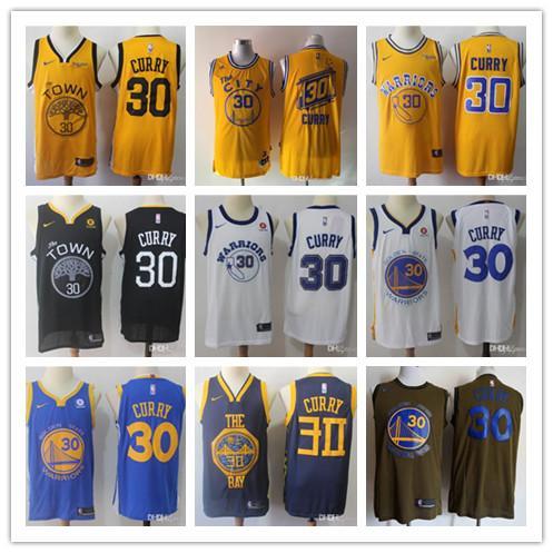 d'oroStatoWarriorsMEN Stephen CITYMaglia basket NBA Currys 35 Durant Thompsons cucito ricamo