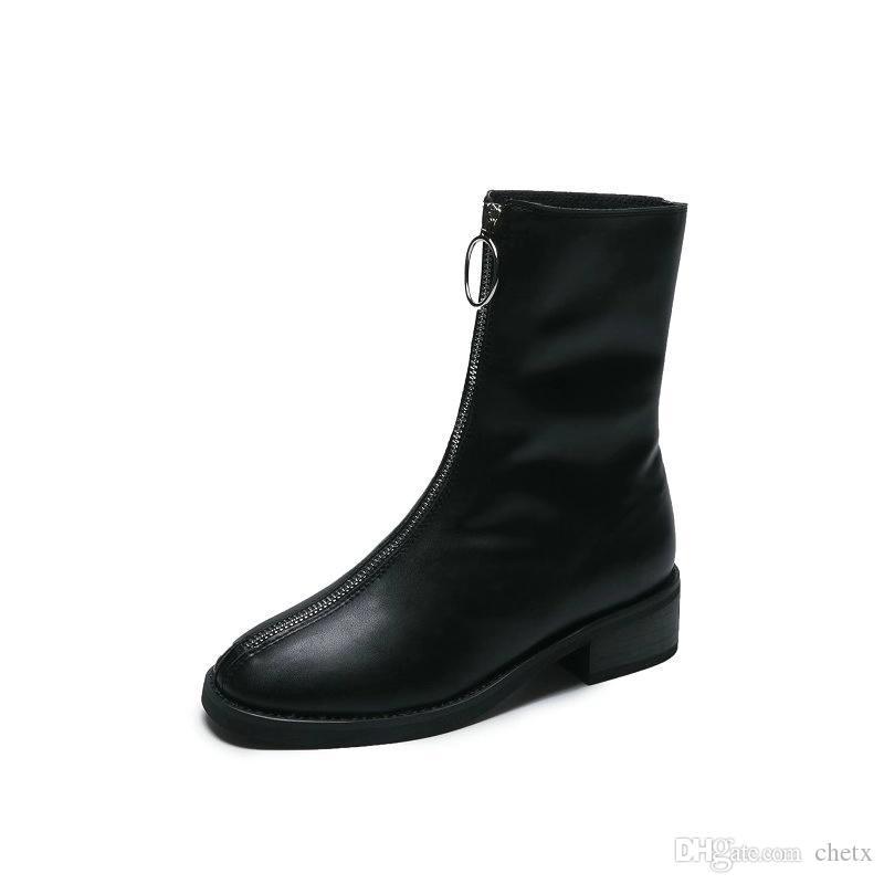 Le donne britanniche signore stile autunno / inverno stivaletti 4 colori moda zip scarpe ragazze calzature sexy