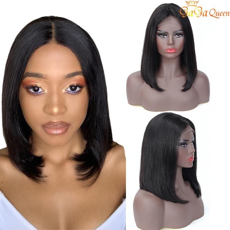 4x4 Dantel Bob Peruk Brezilyalı Düz peruk işlenmemiş insan saçı dantel ön peruk doğa renk gaga kraliçe