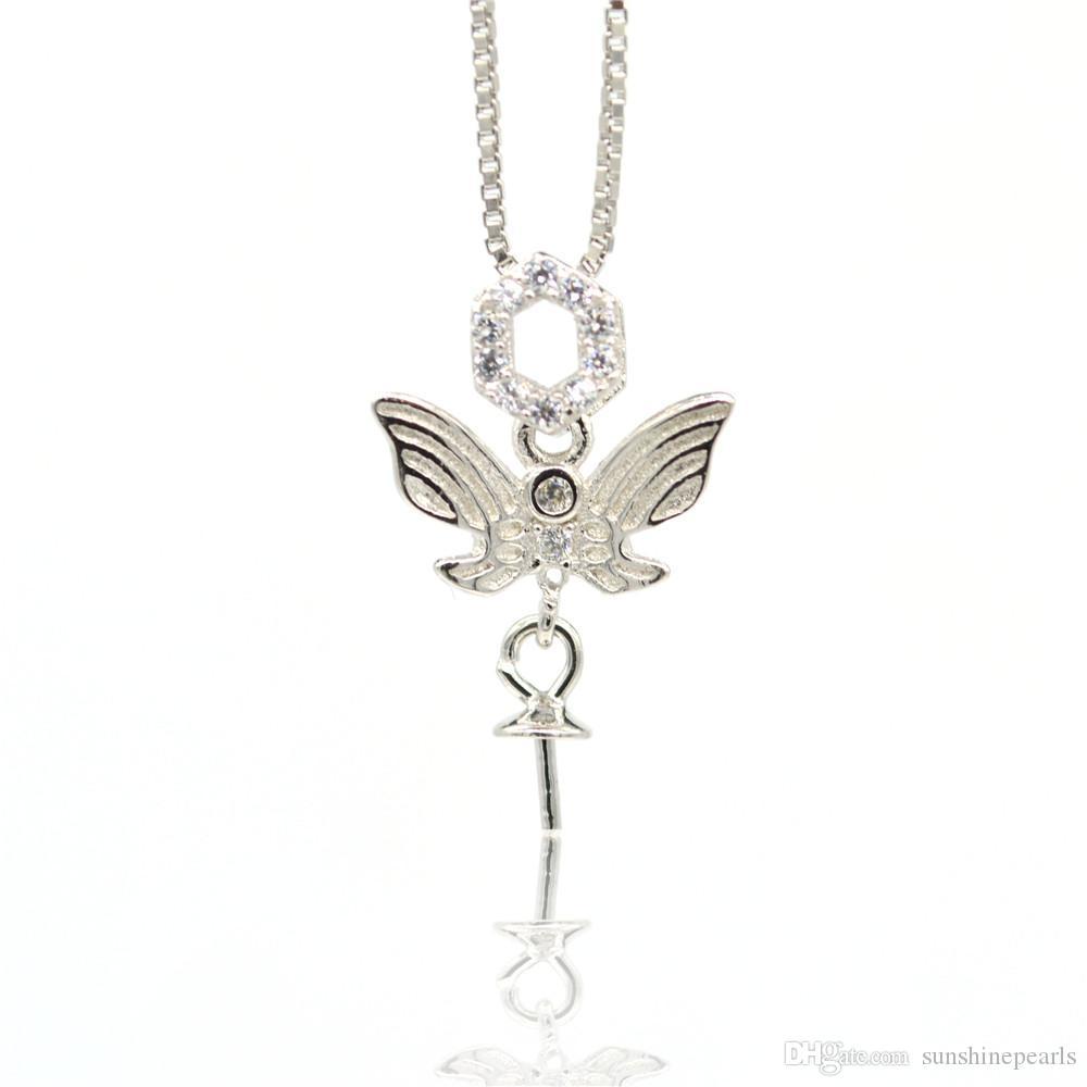 925 установки стерлингового серебра Pearl Подвески крепление кронштейн DIY ожерелье полуфабрикат аксессуары микро-инкрустированные ожерелья бабочки