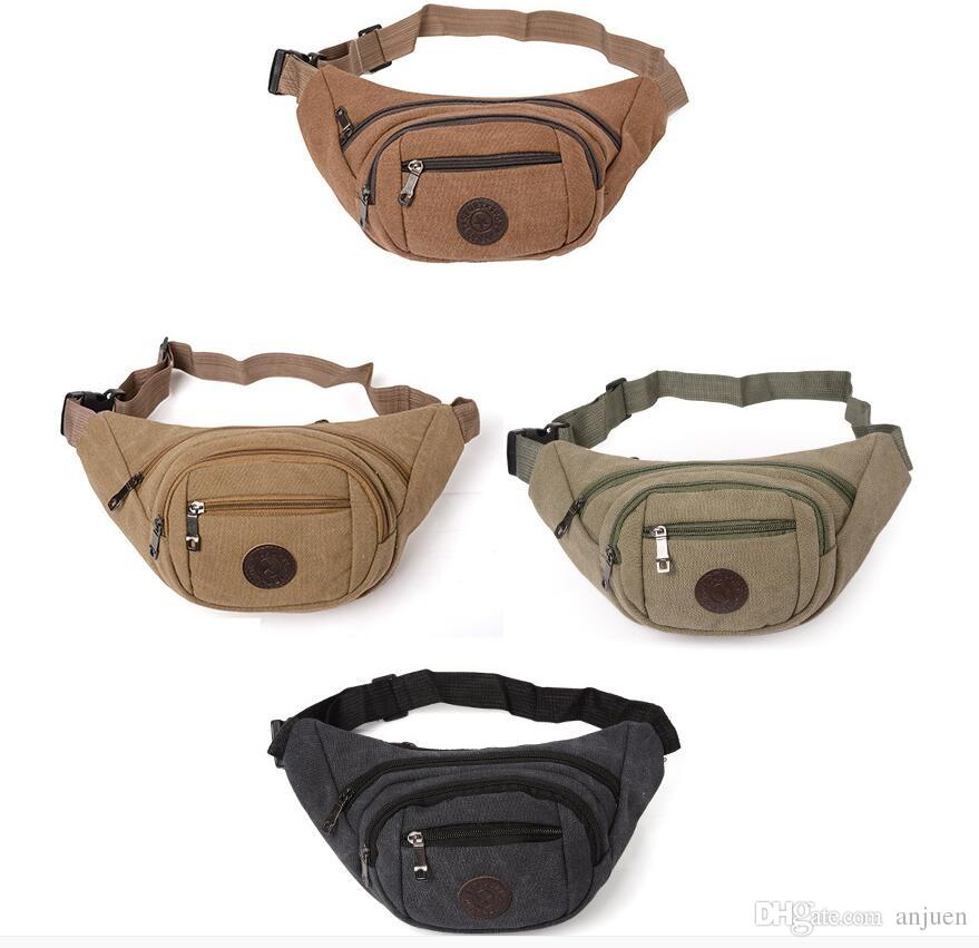 Canvas waist pack mens mobile phone front belt waist pack to spread out cashier running cross Fanny pack