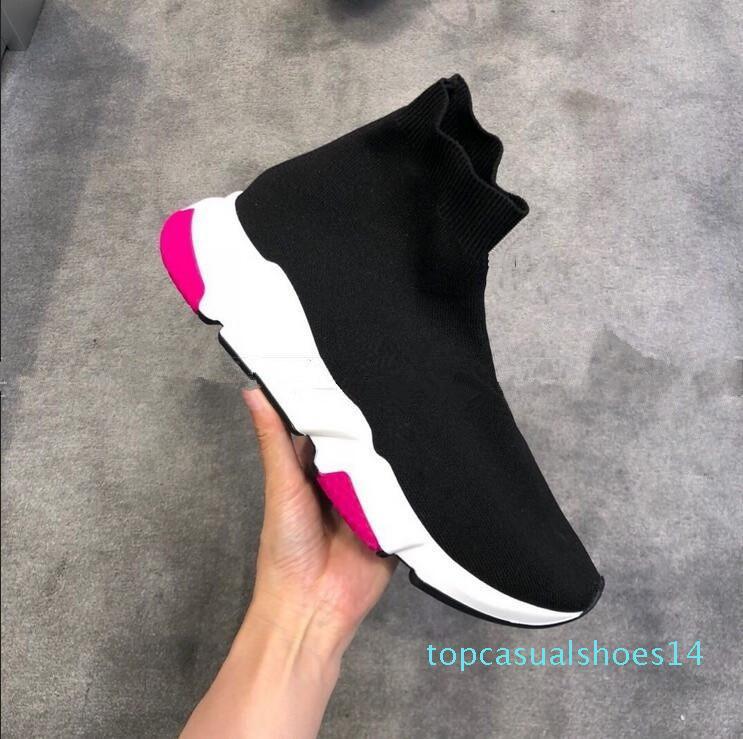 2019 New Air lana velocità Knit Trainer Sneakers classica di marca del progettista delle donne degli uomini superiore piana di modo Calzino Scarpe 14t