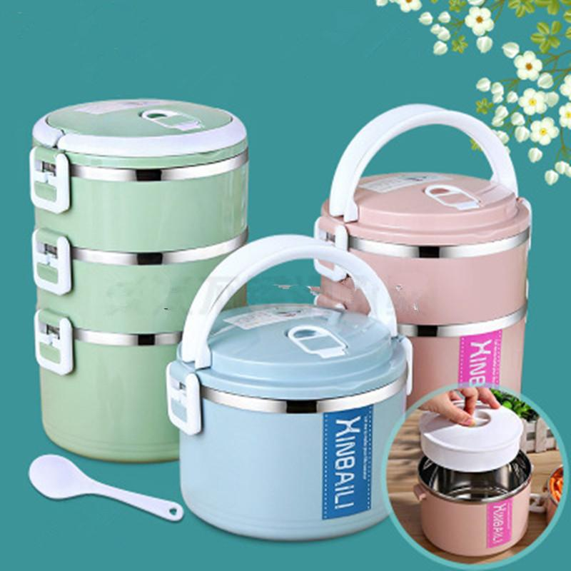 Kitchen bottom thick insulated lunch box kids heating stainless steel lunchbox Japanese thermo bento box picnic food container C18112301