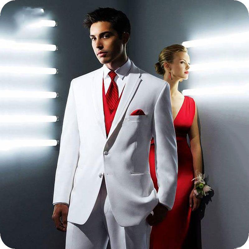 White Men Wedding Suits Man Blazer Jacket Red Vest Latest Coat Pant Designs Groom Tuxedo 3Piece Slim Fit Costume Homme Groomsmen Suit Ternos
