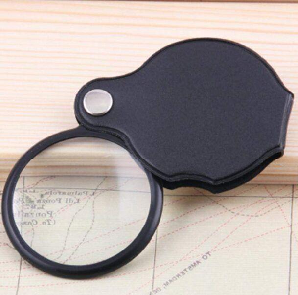 Mini portátil negro 50mm 10x Mano-Hold Lectura Lupa Lupa Lente de vidrio Joyería plegable Lazo Joyería Lupas