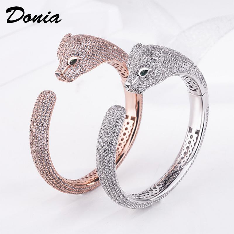 Donia jóias partido presente Rose Gold Jewelry Bracelet Micro Inlay Zircon Leopard pulseira ajustável Personalidade Pulseira animal Domineering