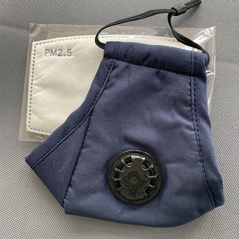 Máscaras de la cara rosa Anti-polvo FedEx Blue Designer Reutilizable 95 Respiración Mascarillas gruesas Válvula 2 Carbono PM2.5 Filtro de algodón protector Lavable UJCX