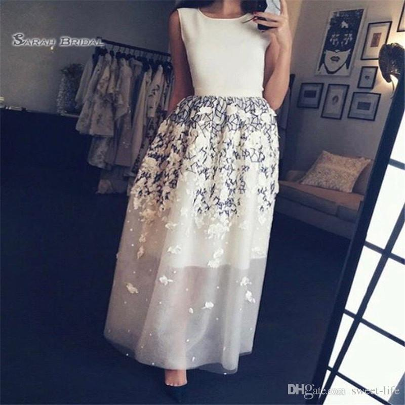 Appliques Ankle Length Jewel Sleeveless Prom Dresses Vestidos De Festa In Stock Hot Sales High-end Occasion Dress