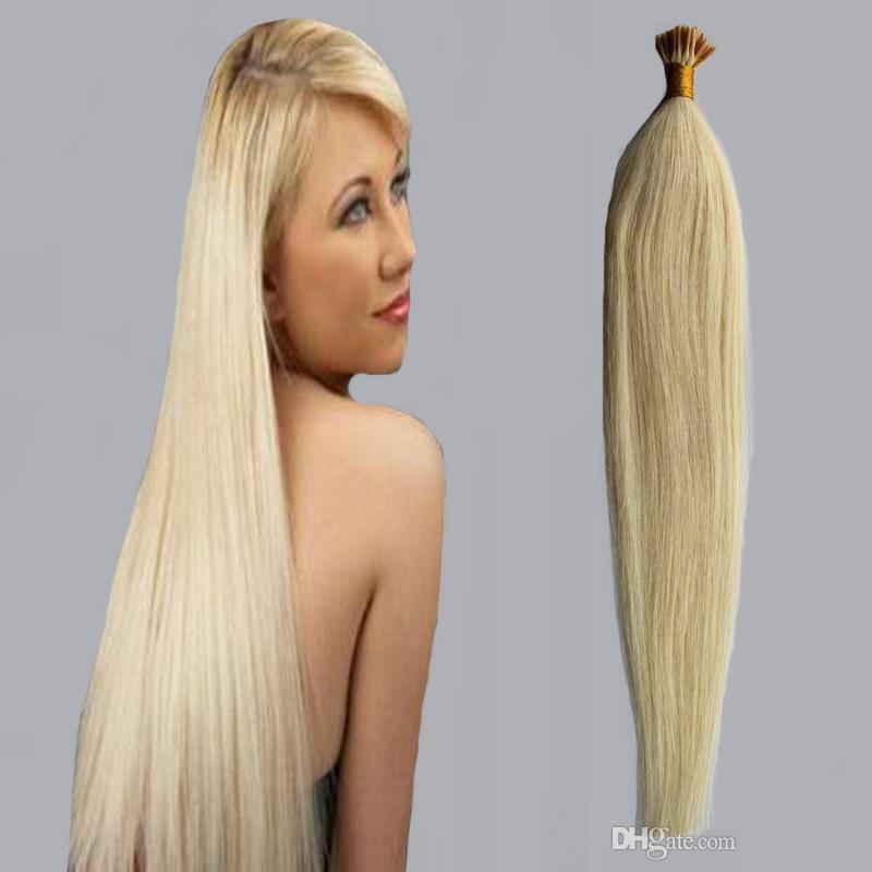 """Eu derrubo extensões do cabelo 1g / s 100g Fusão eu derrubo extensões do cabelo 14 """"18"""" 22 """"cabelo humano europeu da queratina de Remy na cápsula"""