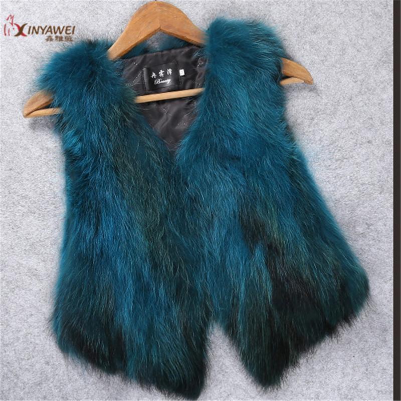 Source fabricant Quality Assurance fourrure de raton laveur Nest Fille de vêtements en fourrure Gilet Gilet femme Out chaud option multi-couleurs.