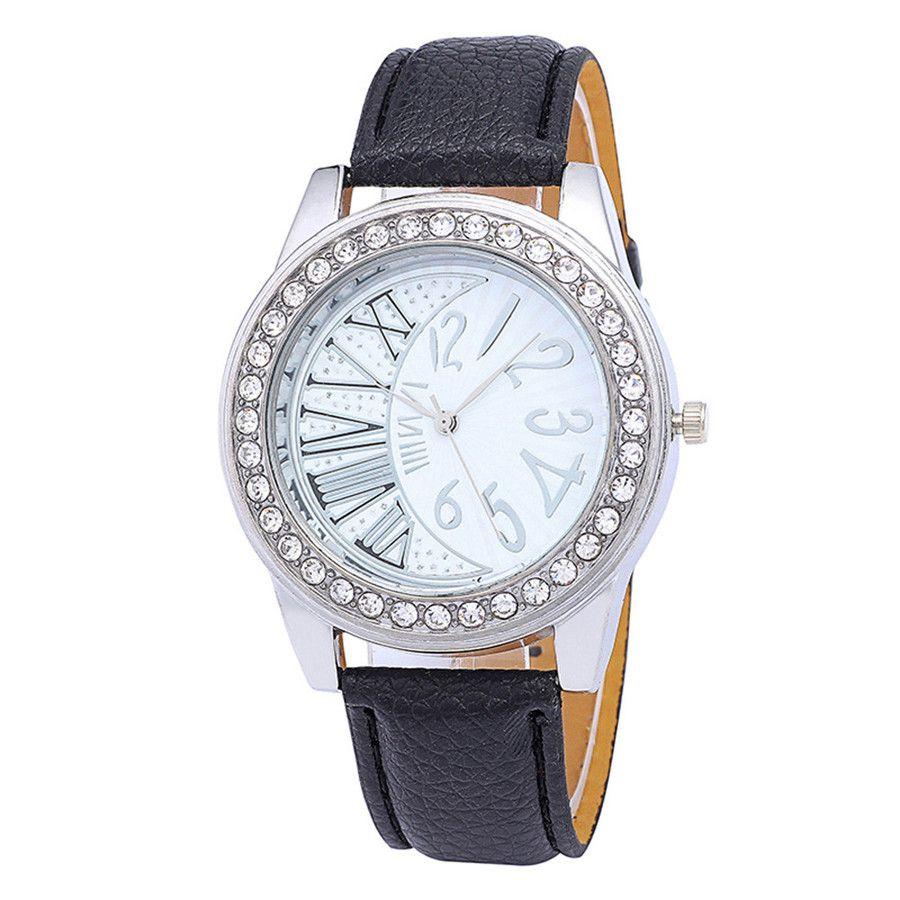 2019 reloj de las mujeres ocasional con estilo del Rhinestone de cuero del dial de cuarzo analógico Charm Negro correa de reloj de manera Y30
