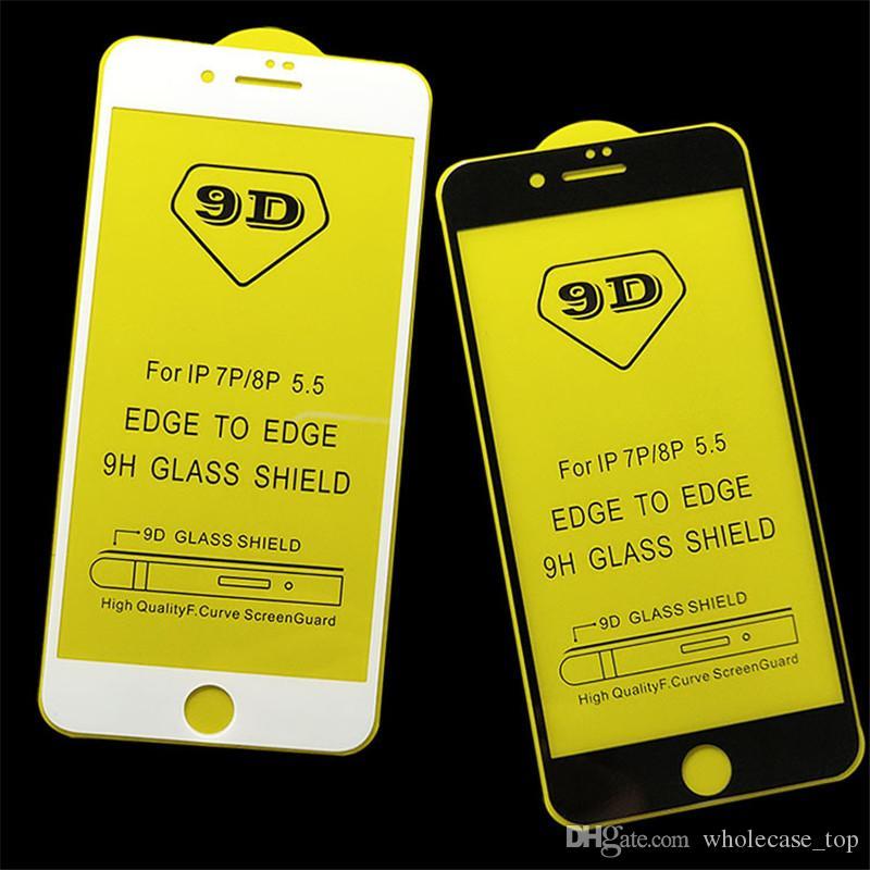Protecteur d'écran ultra mince en verre trempé 9G Full Glue Full Cover Film transparent pour iPhone X Xr Xs Xs Max 8 7 6