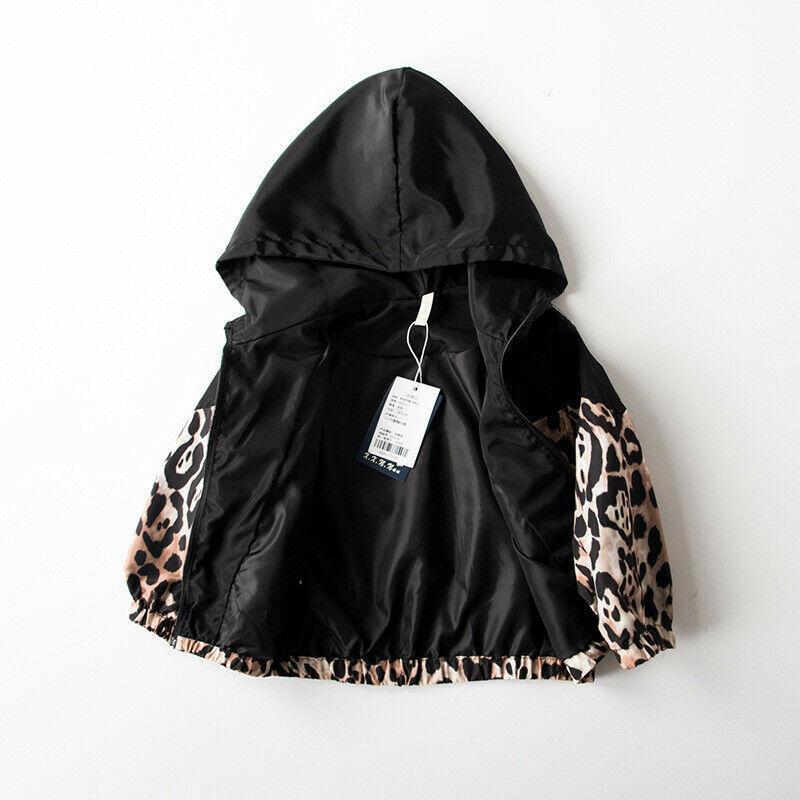 Детские ребёнки куртки леопардовый Лоскутная с капюшоном Пальто осень Outwear 1-7T