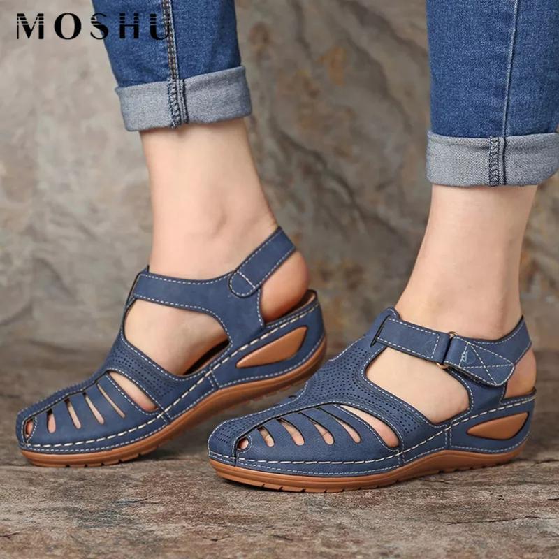 Kadın Sandalet Bayanlar Yaz Plaj Rahat Bilek Hollow Yuvarlak Burun Sandalet Kadın Yumuşak Plaj Sole Ayakkabı Plus Size