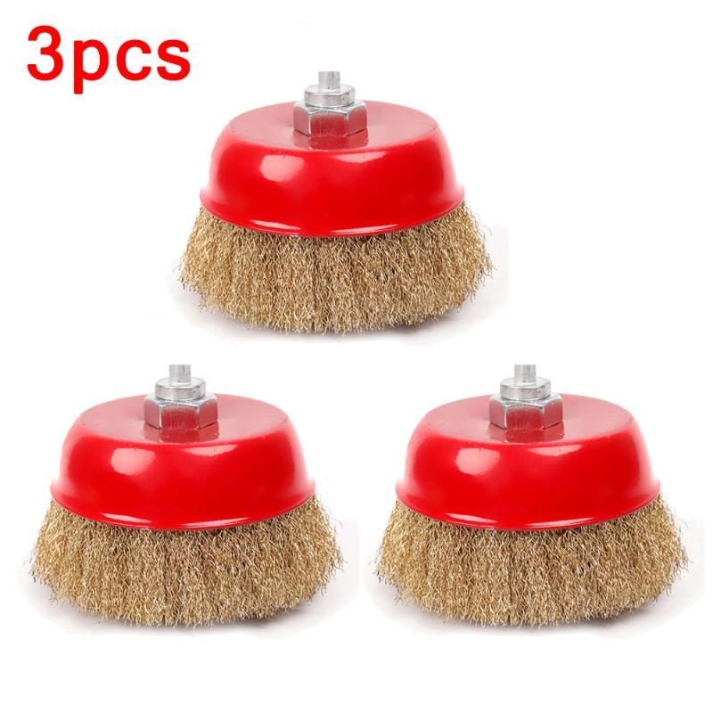 3pcs 65mm Brass Steel Wire Brush Crimp Cup For Rotary Wheel Angle Grinder M14 Rust And Paint Removal