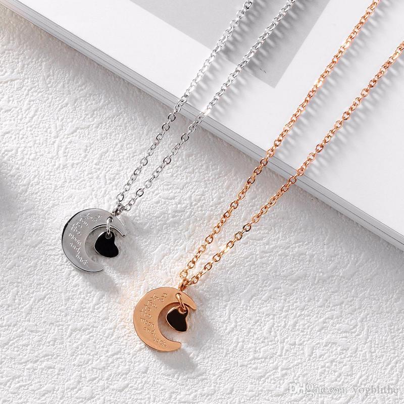 Collares románticos de acero inoxidable Love Heart Moon colgantes de plata / oro rosa de color corto collar de joyería de moda para las mujeres