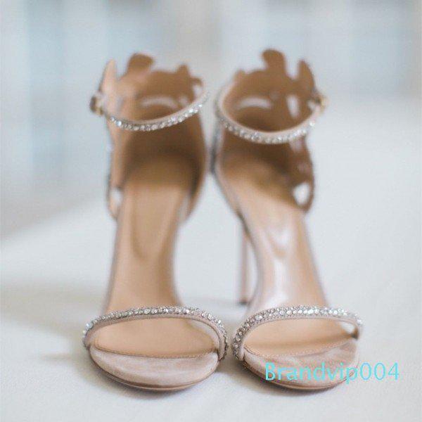 2019 Yeni Moda süper yüksek topuklu peep toe elmas taklidi çiçek Özelleştirilmiş kadın ofis bayan parti düğün sandalet ayakkabı ücretsiz kargo