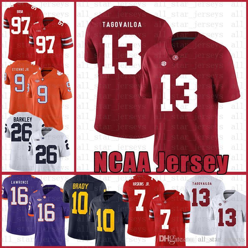 Alabama Crimson Tide 13 Tua Tagovailoa Amerikan futbolu Jersey 10 Tom Brady 26 Saquon Barkley 97 Nick Bosa Formalar erkekler beyaz rsfertg