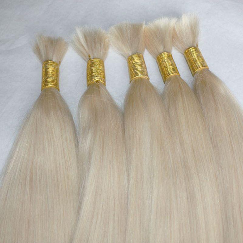 Straight wave 100% Human Hair Bulk Straight Hair Bulk for Braiding Virgin Remy Blonde Color 613 300Gr Lot