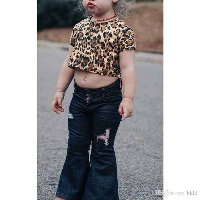 Baby Girls Leopard Print Short Sleeve T-shirt And Hole Denim Flare Pants Two Pieces Outfits Toddler Kids Clothes Sets