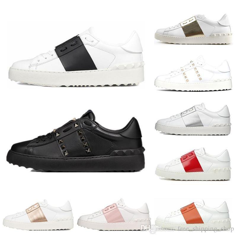 2020 VALENTINO Shoes Мода Мужские Женщины Повседневная обувь Белый Черный женщин кожа Комфортные обувь Open Low Sports кроссовки Размер 35-45
