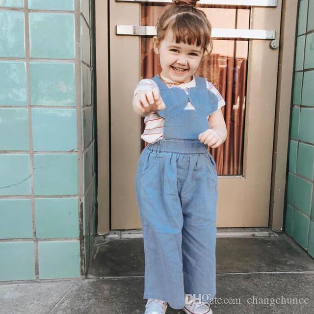 Outono Macacões 2019 Primavera Meninas Wed-leg Calças Jeans Calças Coreano Moda Casual Borla Roupas Crianças Roupas de Menina